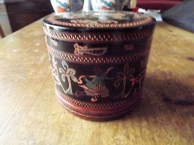 Vintage Burmese Lacquer Cylindrical Betel Nut Box with Dancers