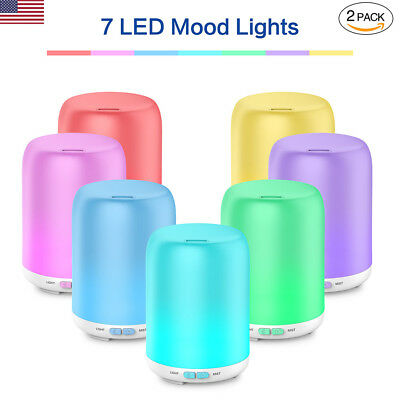 2PCS Essential Oil Diffuser Ultrasonic 7 LED Cool Mist Aroma Pure Air Humidifier