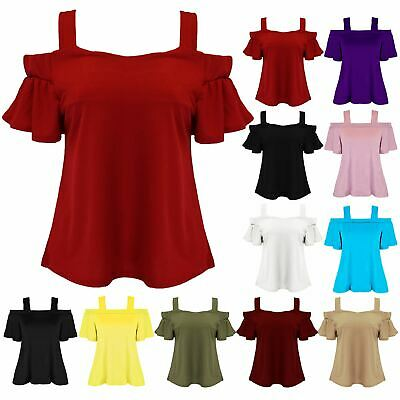 Ladies Cami Strap Off Cold Shoulder Stretch Bardot Womens Peplum Bell Sleeve Top