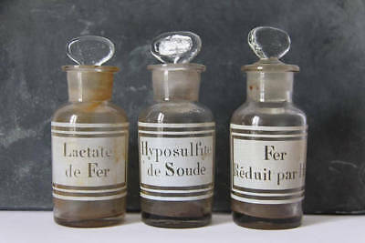 Antique Glass Apothecary Jar, Pharmacy Bottle. Mouth blown. Set of 3, French