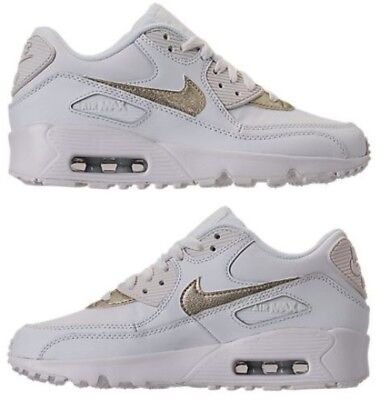 5e0ba0296d Nike Air Max 90 Leather Girl's Casual Summit White - Metallic Gold Star New  Size