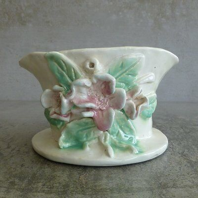 Vintage Handcrafted Pottery Bowl with applied flowers signed on base Australian
