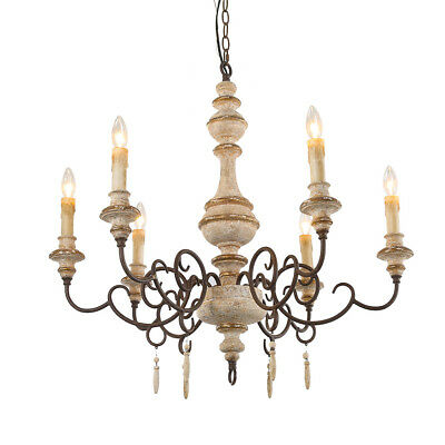 6-Light Pendant Lighting French Country Chandeliers Wood Chandelier