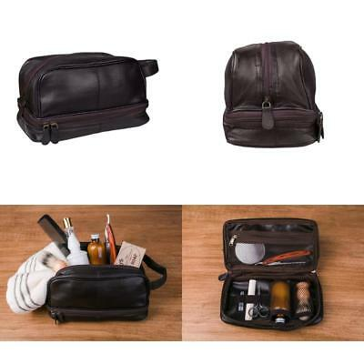 ... new products 69d64 b9d54 Mens Leather Dopp Kit Bag Shaving Accessory Toiletry  Organizer Travel Vintage ... 1eee086809