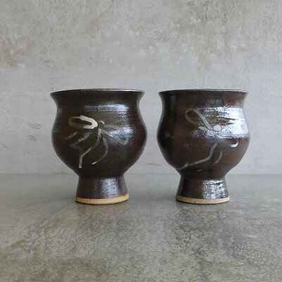 2  Handcrafted Pottery Goblets 200mls Brown Bow Design Retro Australian Vintage