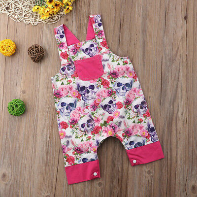 Cute Summer Newborn Baby Girls Floral & Skull Romper Jumpsuit Sunsuit Outfits
