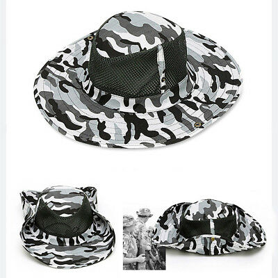Outdoor Fishing Sun Resistant Hat Breathable Mesh Camouflage Cap Sunhat Wide