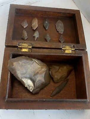 Stone Age Tool set in small wooden box Mesolithic and Neolithic