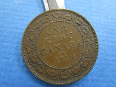 1914 One Cent Canada King George Large Penny Coin VF