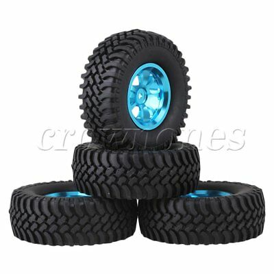 4pcs Blue Alloy 7 Spoke Wheel Rim+Simulation Rubber Tyre for RC1:10 Rock Crawler