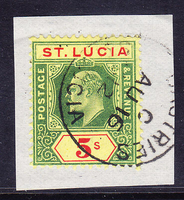 ST LUCIA EdVII 1907 SG77 5/- green & red on yellow - very f/u on piece. Cat £70