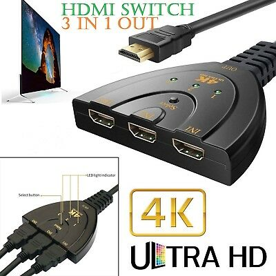 3Port HDMI Switch Splitter Cable 4K*2K 2160P Multi Switcher HUB LCD HDTV PS Xbox