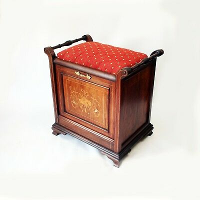 Antique Music Stool with Marquetry Panels and Fitted Interior for Sheet Music