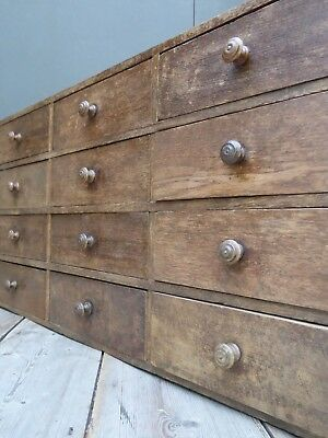 Early Vintage Antique Bank Of Oak Apothecary Drawers Industrial Victorian