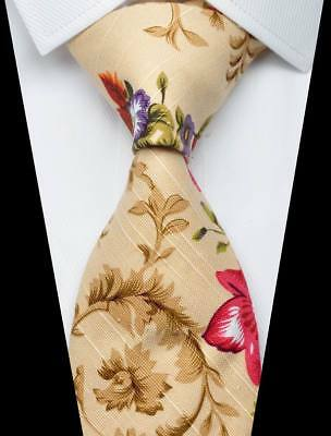 New Floral Beige Red Green Purple 100/% Cotton Men/'s Necktie Neck Tie 3.15/'/' 8CM