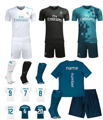 Football Club Kits Soccer Short Sleeve Jersey Suit 3-14 Yrs Kids Boy+Socks