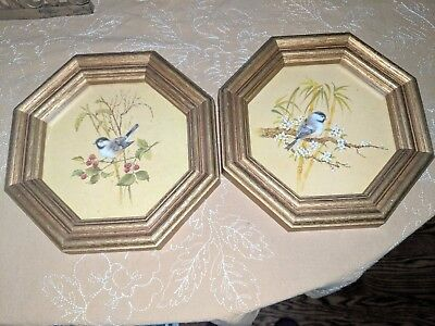 Vtg 1982 Homco Gold Octagon Framed Chickadees Sitting on Branches Set of 2
