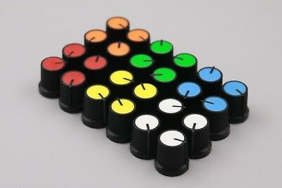 Plastic for Rotary Taper Potentiometer Hole 6mm Black Knob Six Color Each 5Pcs