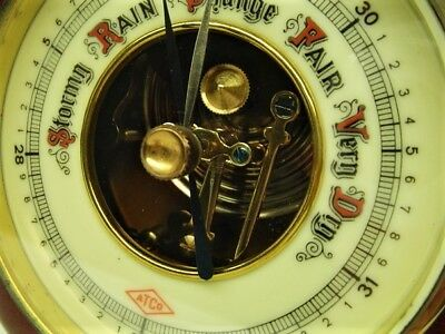1920'S Antique German Aneroid Barometer Porcelain Face Exposed Movement Germany