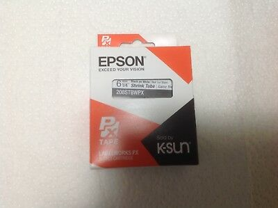 "K-Sun 208STBW Black on White Shrink Tube 1/4"" KSun Epson 208STBWPX"