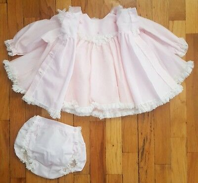 Vtg Fancy Pink Sheer 3 Piece Baby Girl Swiss Dot Dress Coat Undies Bloomer 6-12m