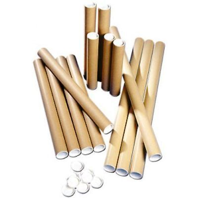 15  Postal Tubes Extra Strong Quality Cardboard A2 462MM X 50MM+Plastic End Caps