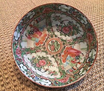 Antique Late 19th Century Qing Chinese / Cantonese Famile Rose Porcelain Bowl