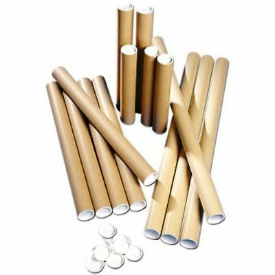 50  Postal Tubes Extra Strong Quality Cardboard A2 465MM X 51MM+Plastic End Caps