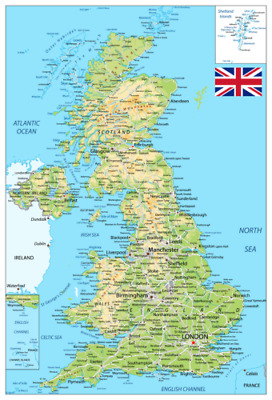 UK MAP DETAILED TOWNS CITIES WALL ART LARGE A0/ A1/ A2/ A3/ A4 450gsm