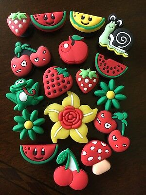 Assorted Shoe Charms Jibbitz fruit flowers red yellow. Lot of 17 pieces.