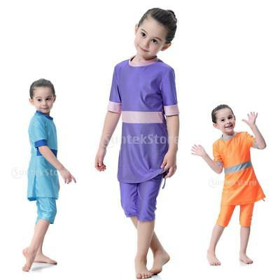 3 Pieces Muslin Girls Toddlers' Modest Swimsuit Arab Top Pants Cap Bathing Suit
