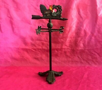 Rooster Chicken Weather Vane Tabletop Model Iron Metal Country Porch Patio Decor
