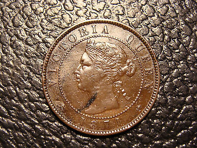 Nice Looking 1871 Rare Coin Die Axis Prince Edward Island Canada Cent