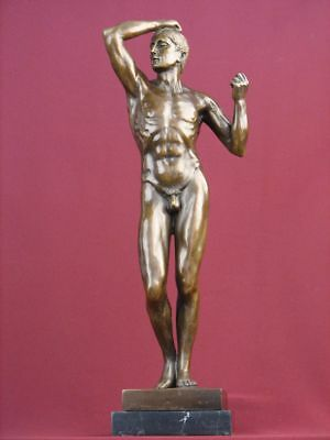 Signed Bronze Handcrafted Classic Sculpture Nude Male Rodin   Statue On Marble