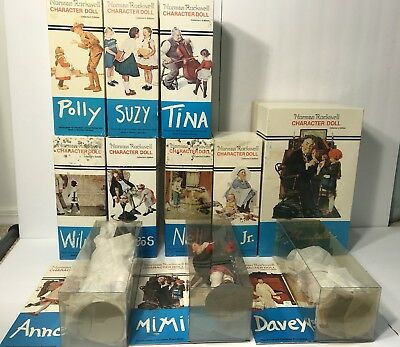 Norman Rockwell Character Dolls Lot of 11 Wilma Tina Dr. Chrisfield w/ Boxes