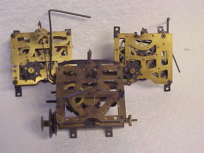 3 Incomplete Vintage 1 Day Cuckoo Clock Movement parts repair C