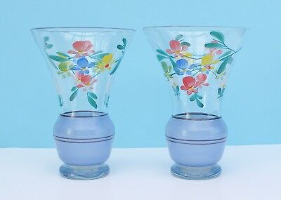 Vintage 30s Deco Glass Vases Pair Hand Painted Floral Blue Frosting Gilt Banding