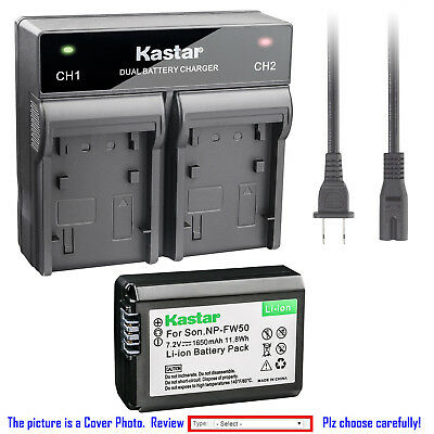 Kastar Battery Dual Rapid Charger for Genuine Sony NP-FW50 Original BC-VW1 BCTRW