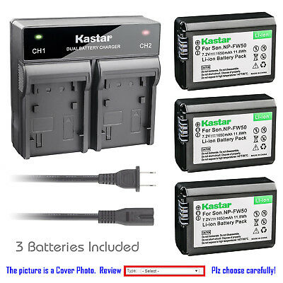 Kastar Battery Dual Rapid Charger for Sony OEM NP-FW50 & Genuine BC-VW1 BC-TRW