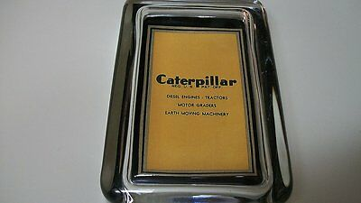 Caterpillar Tractor Graders Machinery Cat Advertising Sign Glass Paperweight