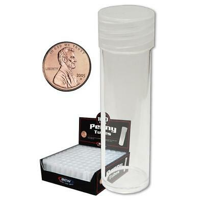 100 New Bcw Round Penny Clear Plastic Coin Storage Tubes W/ Screw On Caps