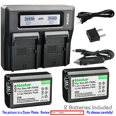 Kastar Battery LCD Dual Fast Charger for Sony Genuine NP-FW50 OEM BC-VW1 BC-TRW