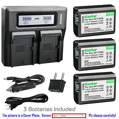 Kastar Battery LCD Dual Fast Charger for Sony OEM NP-FW50 Genuine BC-VW1 BC-TRW
