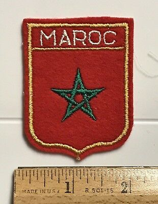 Maroc Morocco Moroccan Flag Star Red Felt Embroidered Patch Badge