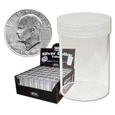 10 New Bcw Round Dollar Clear Plastic Coin Storage Tubes W/ Screw On Caps