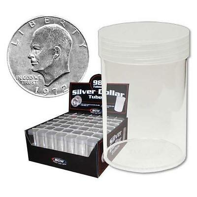 20 New Bcw Round Dollar Clear Plastic Coin Storage Tubes W/ Screw On Caps