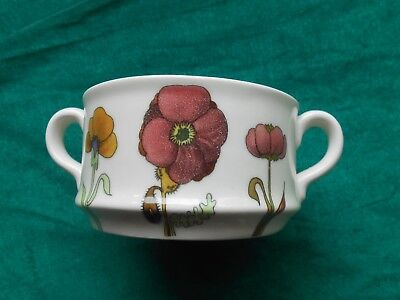 Made in Italy Earthenware 2 Handled Soup Crock Pansies & Floral