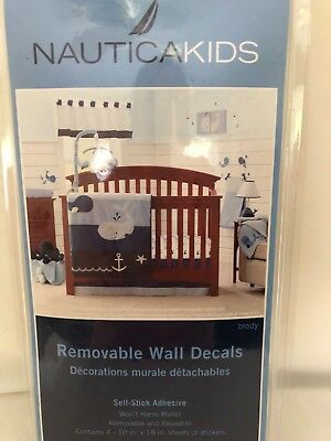 Nautica Kids Brody Removable Wall Decals Whales Anchors Waves Blue Yellow