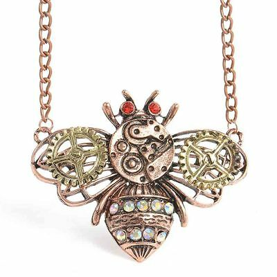 Bee Chain Steampunk Vintage Antique Machinery Jewelry Pendants Necklace Choker