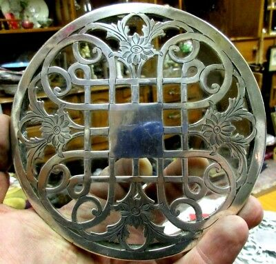 Antique Frank M. Whiting Sterling Silver Overlay Glass Trivet